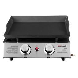 18in. Table Top 2-Burner Propane Gas Grill in Stainless-Stee
