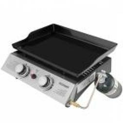 2-Burner Portable Tabletop Propane Gas Grill Griddle in Blac