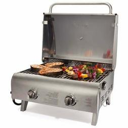 Cuisinart 2 Burner Propane Gas Grill Portable Tabletop Stain