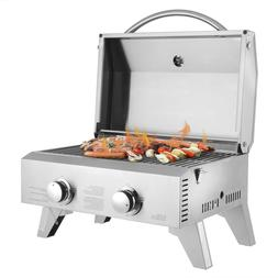 2-Burner Stainless Steel Portable Tabletop Gas Grill Outdoor