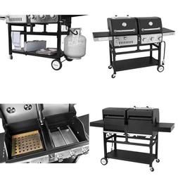 3-Burners Propane Gas Grill and Charcoal Combo Grill in Blac