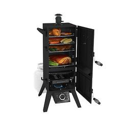"36"" Vertical Push Button Gas BBQ Smoker Grill, Dual Door"