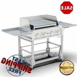 4 Burner Gas Event Grill Griddle Silver 304 Stainless Steel