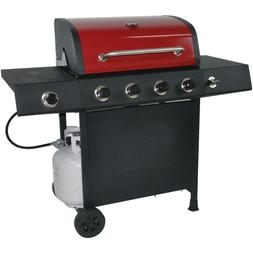 RevoAce 4-Burner Gas Grill with Side Burner, Burgandy Red. N