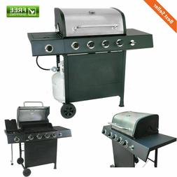 4 Burner Liquid Propane Gas Grill w Side Burner Stainless St