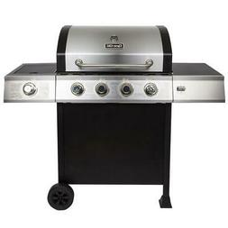 4-Burner Open Cart Propane Gas Grill in Stainless Steel with