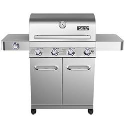 4-Burner Propane Gas Grill Stainless LED Controls Side Burne