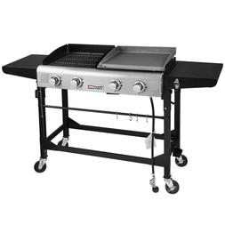 Portable Propane Gas Grill 4-Burners Griddle Combo Grills Bl