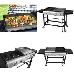 4-Burners Portable Propane Gas Grill and Griddle Combo Grill