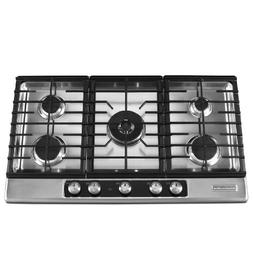 "KitchenAid 36"" 5-Burner Gas Cooktop Stainless Steel Architec"