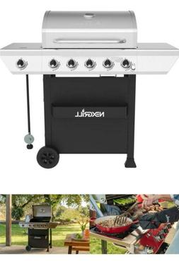 5 Burner Propane Gas Grill in Stainless Steel with Side Burn