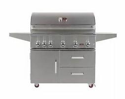 Bonfire 42-inch-5 Burners Propane Gas Grill on cart with Inf