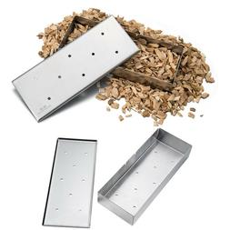 8.85'' Stainless Steel Gas Grill Smoker Box Wood Chip BBQ Sm