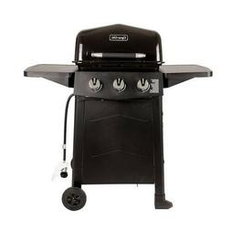BBQ Grill 3-Burner Propane Gas Open Cart Black Porcelain-Coa