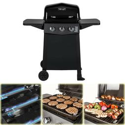 bbq grill propane gas 3 burner open
