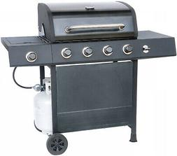 BBQ LP Gas Grill Side 4 Burner Stainless Steel Pewter Fleck