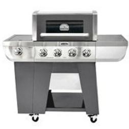 Deluxe Four Burner Gas Grill Heat Gauge casters Charcoal and