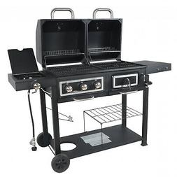 dual fuel gas charcoal combo grill cast