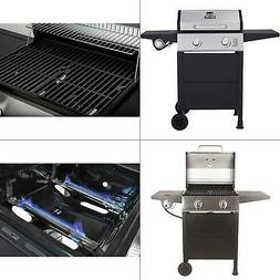 Gas Grill 2 Burner BBQ Backyard Patio Stainless Steel and Bl