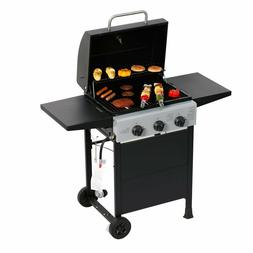3 Burner Gas Grill BBQ Garden Patio Iron Outdoor Cooking Bar