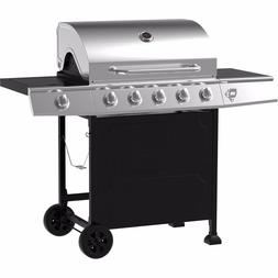 Gas Grill 5 Burner, Stainless Steel And Black