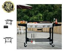 Gas Grill Griddle Combo Portable Propane BBQ Side Wheels Cas