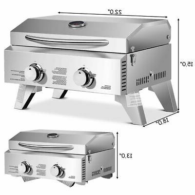 2 Burner Portable BBQ Table Top Propane Gas Grill Stainless