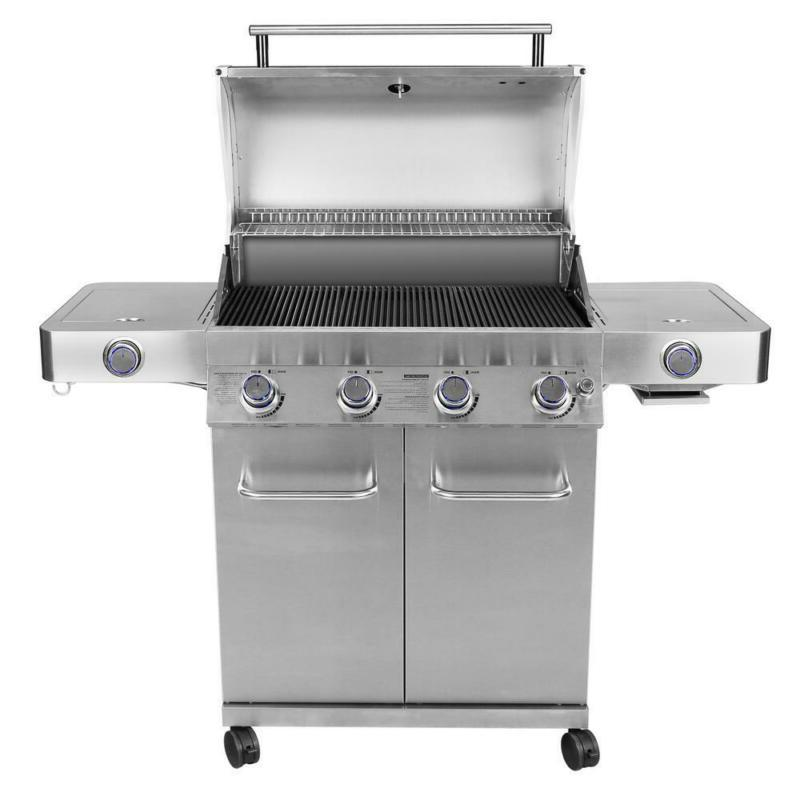 4-Burner Gas Grill in Stainless with Controls, Sear