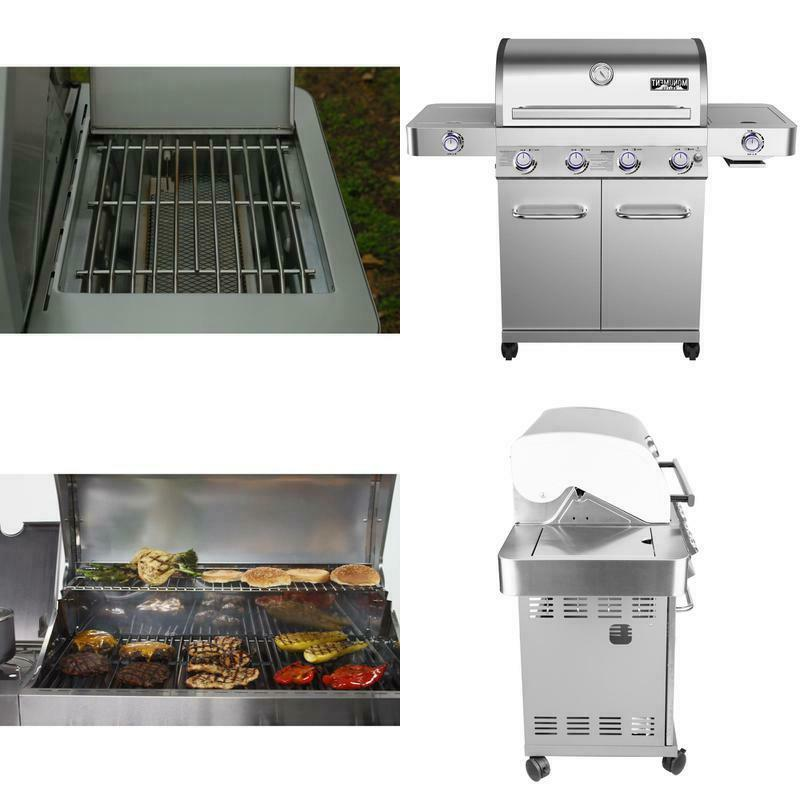 4 burner propane gas grill in stainless