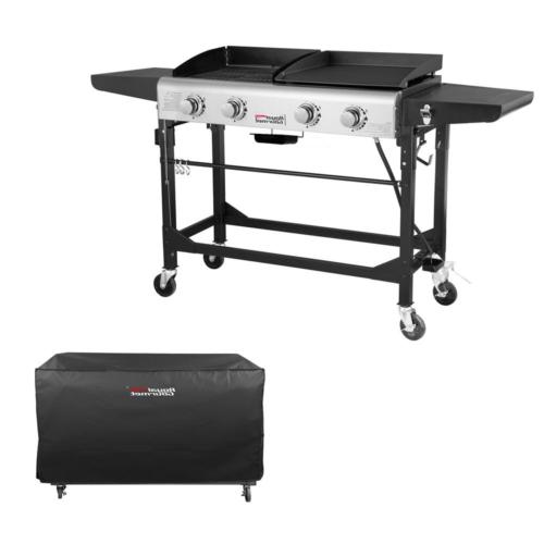 4-Burners Portable Propane Grill Griddle in Black Side