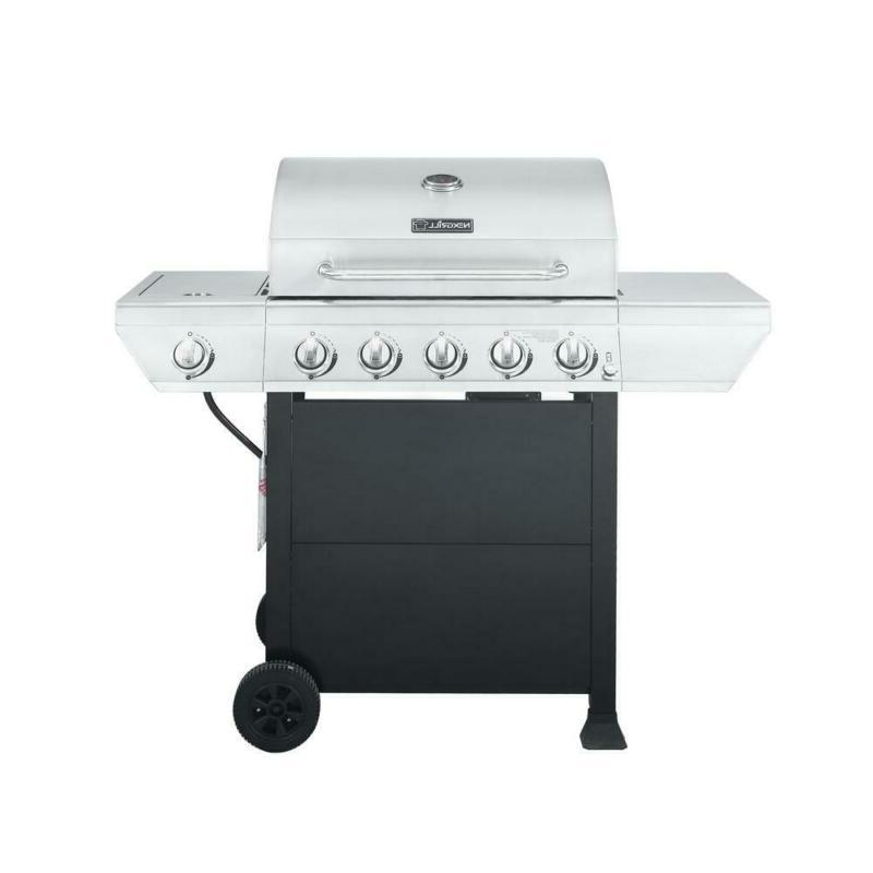 5 burner propane gas grill in stainless