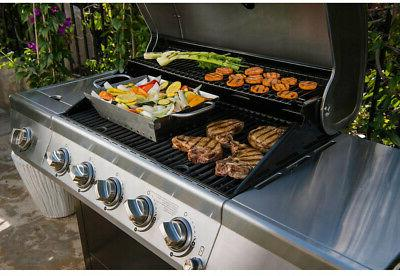 5 burner propane gas grill stainless steel