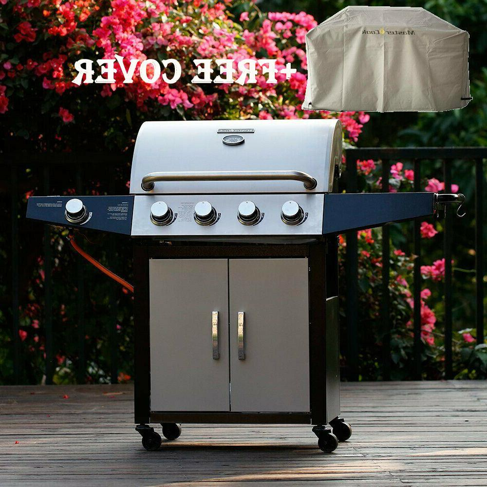 BBQ Gas Grill 4+1 Burner Backyard Patio Stainless Steel Barb