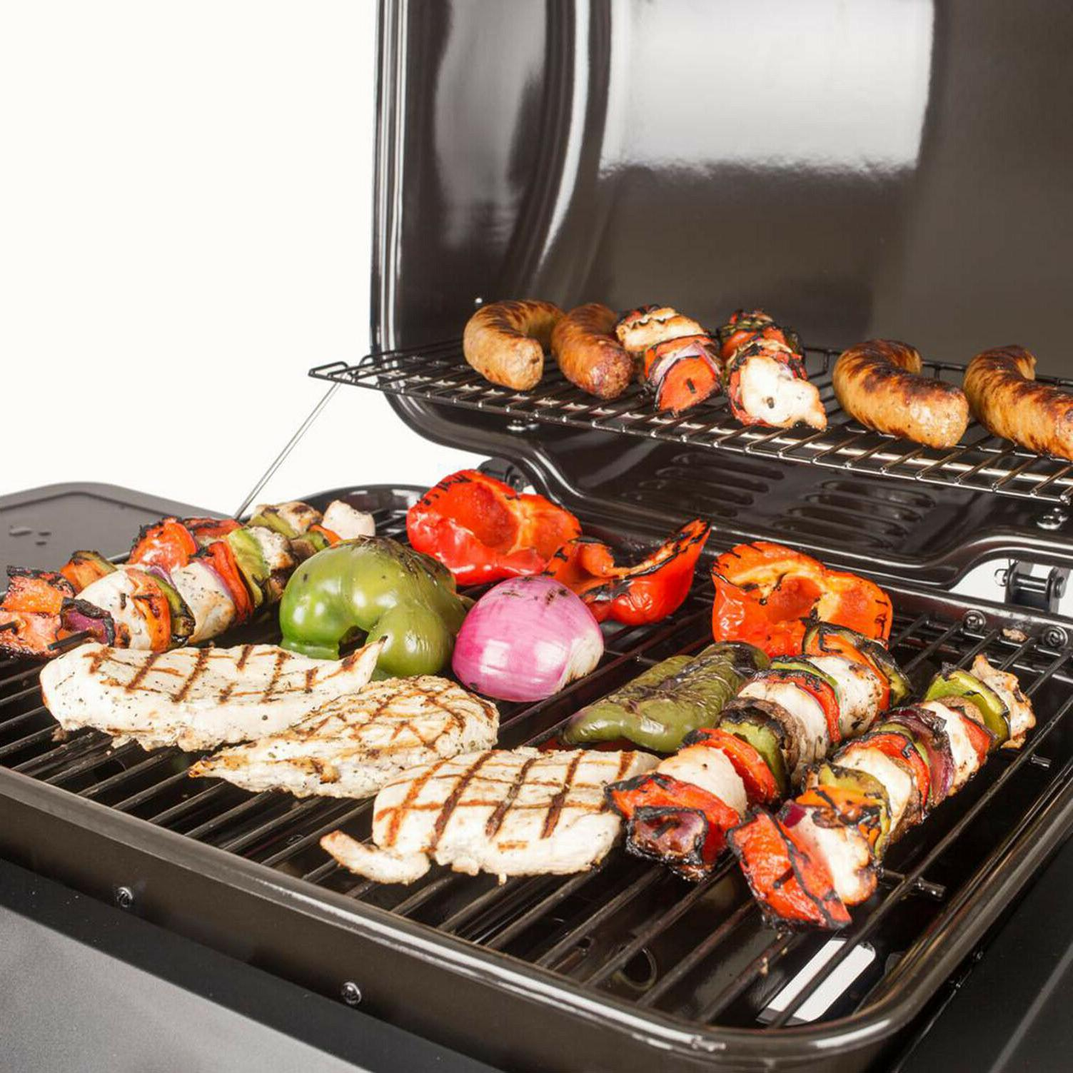 BBQ Grill Propane 3-Burner Black Porcelain Coated