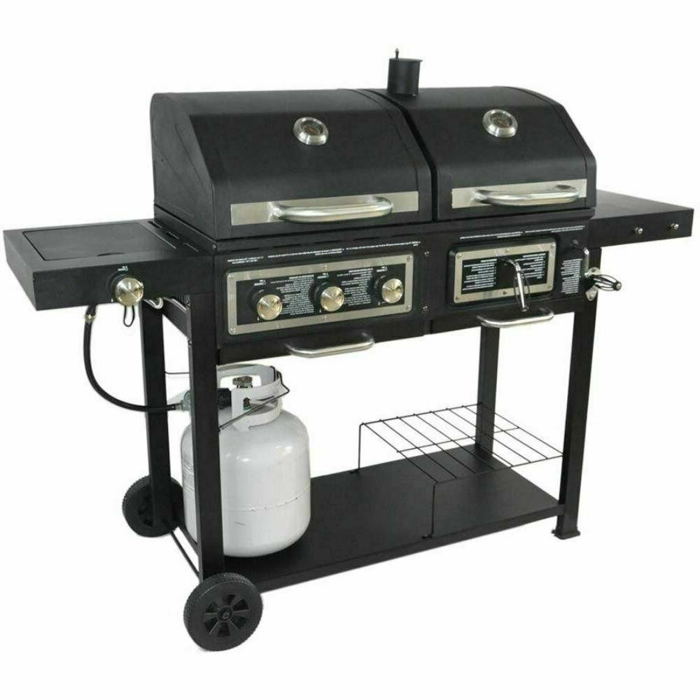 dual fuel combination charcoal gas grill