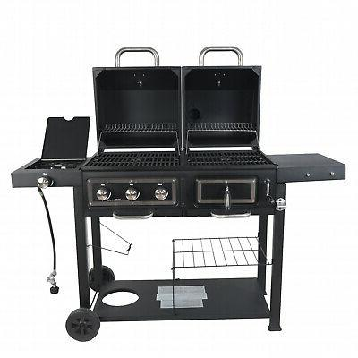 Dual Combo Grill Cast Outdoor Patio BBQ 3