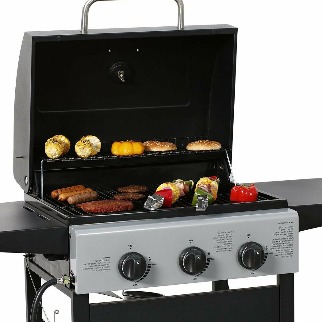 MASTER COOK Classic Propane Gas 3 Bunner with Folding Table, Black