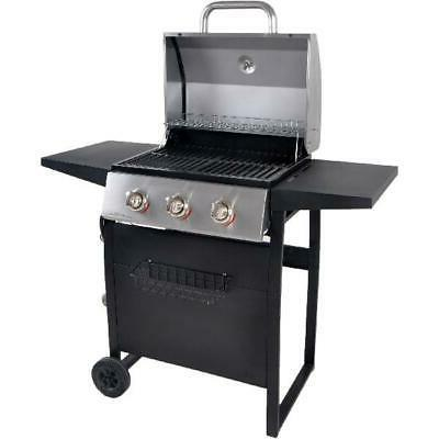 Gas Grill BBQ 3-Burner Steel Outdoor Cooking Compact