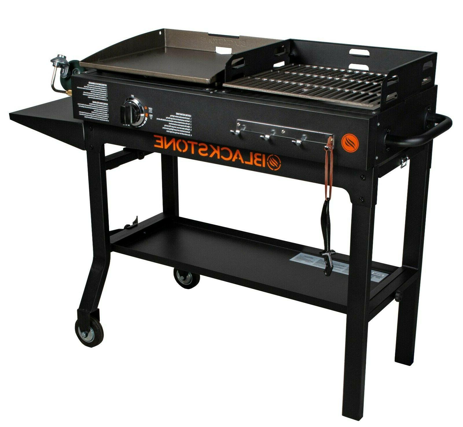 Griddle Charcoal Grill Combo Hibachi Black