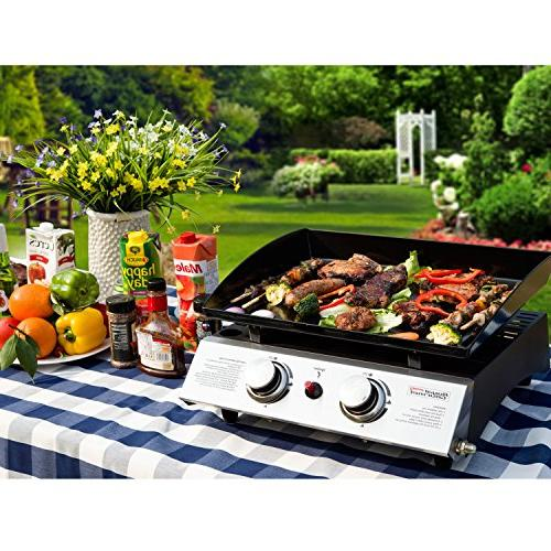 Royal Gourmet 22 Tabletop Grill, Portable Gas Griddle, 2-Adjustable for