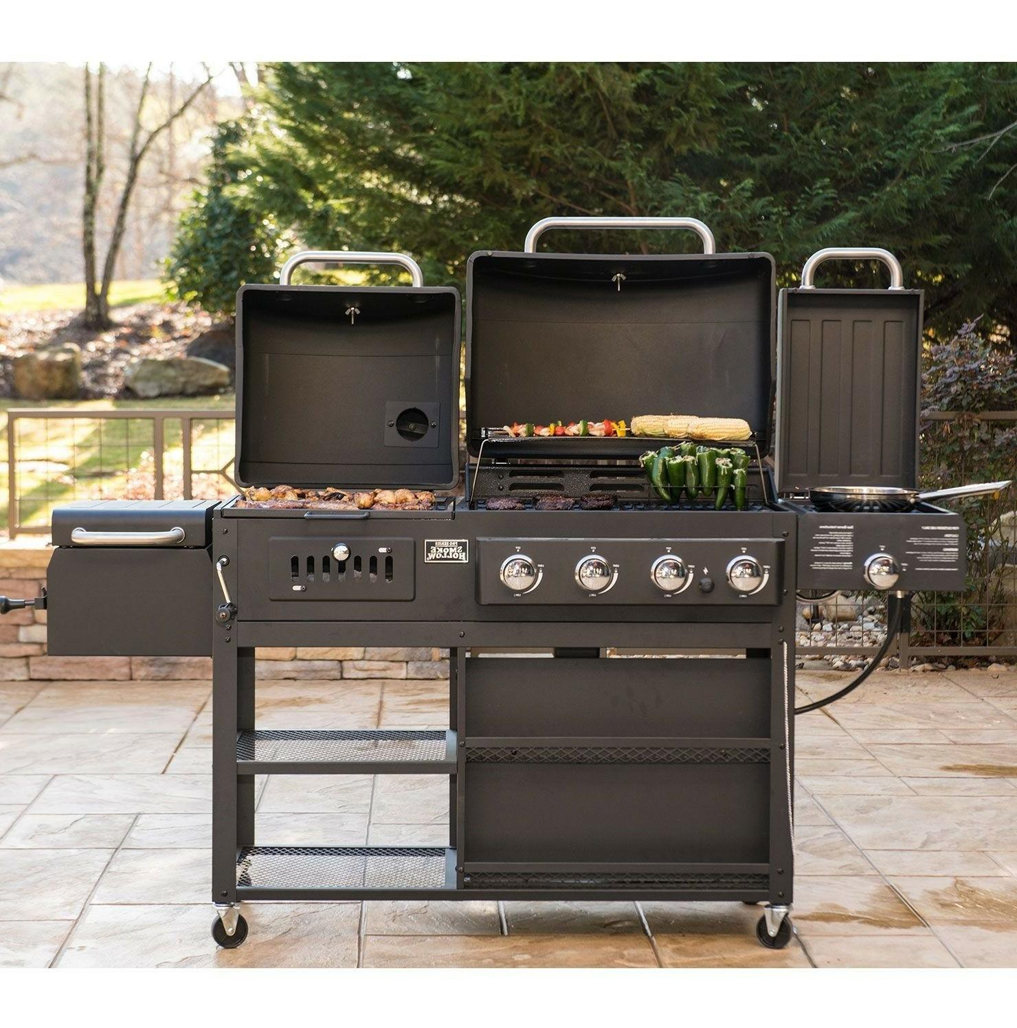 Smoke 4-in-1 Gas Charcoal Combo Grill free