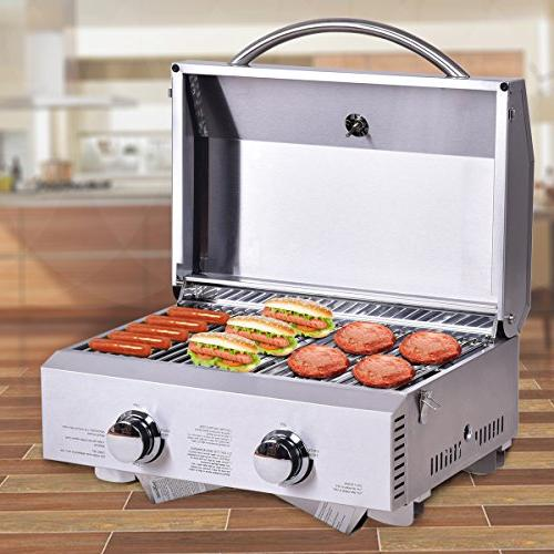 "Giantex Propane Tabletop Gas Grill Steel Two-Burner BBQ, with Foldable 20000 BTU, Camping, Picnics or Any Outdoor 18"" 15"","