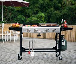 Large Gas Grill Griddle Combo Portable Flat Top BBQ Folding