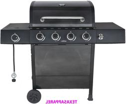 NEW BBQ Gas Grill Side 4 Burner Stainless Steel Pewter Fleck