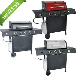 Outdoor Moving 4-Burner Gas Grill w/ Side Burner Cooking Mea