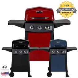 Porcelain Coated 3-Burner Open Cart Propane Gas Grill In Blu