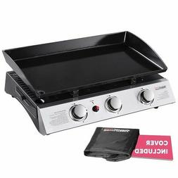Portable 3-Burner Propane Gas Grill Griddle Royal Gourmet No