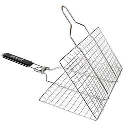 Fourheart Portable BBQ Grilling Basket, Stainless Steel Barb