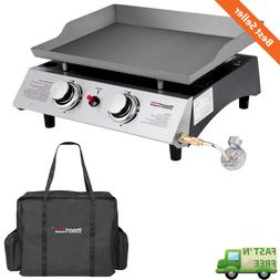 Portable Outdoor 2 Burner Cooking Griddle Propane Gas Backya