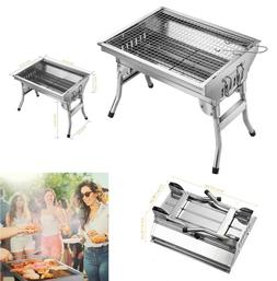 Portable Charcoal Grill Stainless Steel Barbecue Outdoor Cam